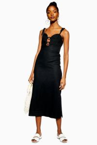 Topshop Linen Rich Horn Ring Slip Dress in Black | LBD | chic cami frock