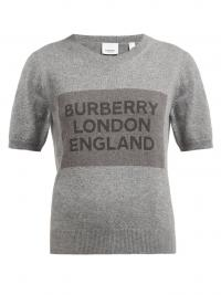 BURBERRY Logo-knit round-neck cashmere T-shirt in grey / casual luxe / knitted tee
