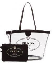 PRADA Logo-print clear PVC tote in black | transparent designer bags