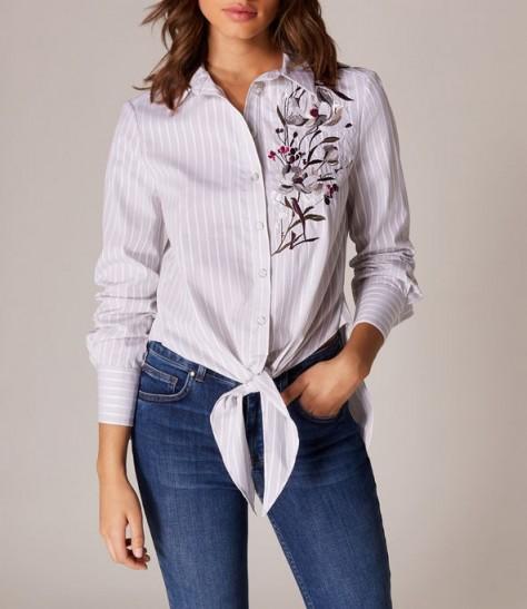 KAREN MILLEN LOTUS TIE-FRONT SHIRT Grey / Multi ~ spring shirts
