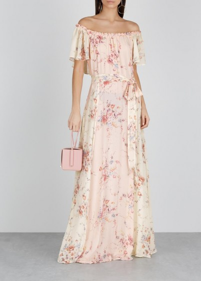LOVESHACKFANCY Evelyn floral-print silk maxi dress in pale-pink and ivory / feminine summer event wear