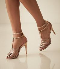 REISS LULU METALLIC STRAPPY HIGH HEELED SANDALS ROSE GOLD ~ double ankle strap T-bar shoes