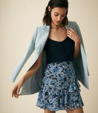 REISS LYON FLORAL PRINTED MINI SKIRT MULTI BLUE ~ side ruffle skirts