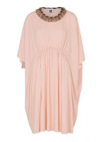 M MISSONI Light pink stretch-jersey dress ~ metallic fringed neckline ~ gathered waist dresses