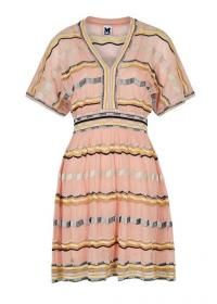 M MISSONI Light pink stretch-knit cotton-blend dress ~ zigzag patterned dresses