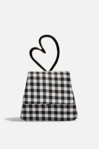 MABLE Gingham Heart Mini Bag in monochrome | small black and white checked bags | cute heart handle handbag