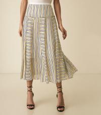 Reiss MAGGIE STRIPED MIDI SKIRT MULTI | fluid summer skirts