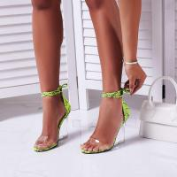 EGO Magnetic Lace Up Perspex Wedge Heel In Green Snake Print Faux Leather ~ clear heels