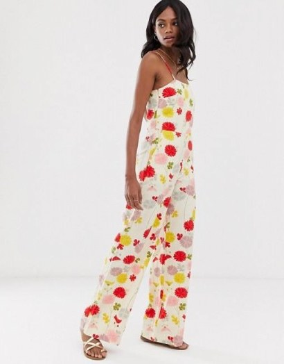 Mango cami jumpsuit in floral print / strappy summer jumpsuits - flipped