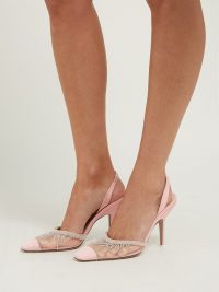 THE ATTICO Mara crystal-embellished moire pumps in pink ~ sheer mesh slingbacks