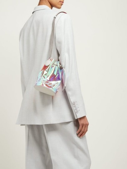 CHRISTIAN LOUBOUTIN Marie Jane PVC bucket bag in silver ~ small glossy iridescent bags