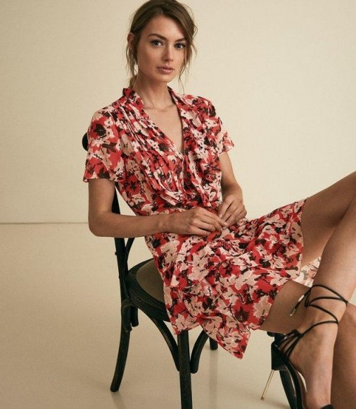 REISS MARSEILLE FLORAL PRINTED MINI DRESS RED ~ ruffle trimmed summer dresses - flipped