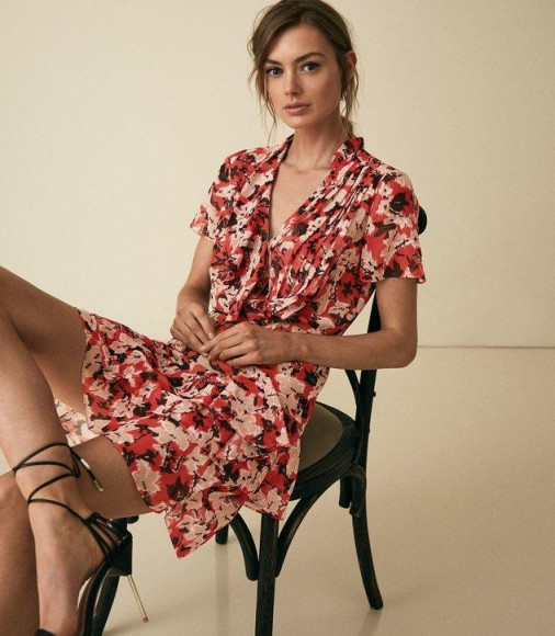 REISS MARSEILLE FLORAL PRINTED MINI DRESS RED ~ ruffle trimmed summer dresses