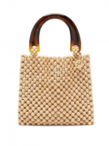 ROSANTICA BY MICHELA PANERO Marv wooden-beaded bag in beige ~ tortoiseshell-toned acetate top handle