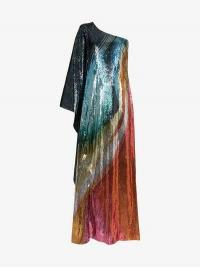 Mary Katrantzou Isole Sequin One Shoulder Maxi Dress / vintage style occasion glamour
