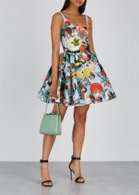 MARY KATRANTZOU Tivolo printed crinkled satin mini dress ~ sea inspired print ~ statement fit and flare