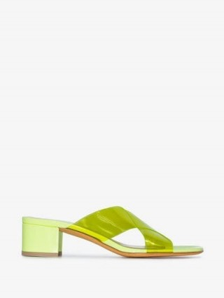 Maryam Nassir Zadeh Yellow Lauren 52 PVC Sandals ~ cross front mules