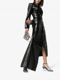 Matériel Asymmetric Midi Skirt in black / faux leather fashion