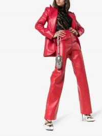 Matériel High Waisted Straight Leg Faux Leather Trousers in red / pants with a sheen