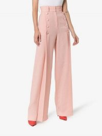 Matériel High-Waisted Button Detail Trousers in pink | retro flares