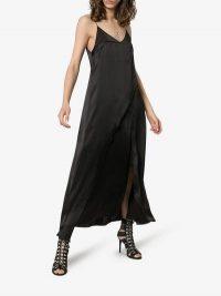 Matériel Split Front Maxi Dress in black | asymmetric front slip dresses
