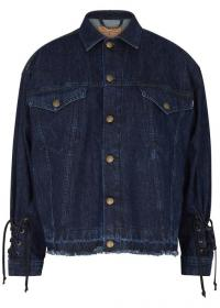 MCQ ALEXANDER MCQUEEN Blue lace-up denim jacket