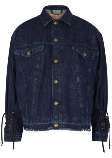MCQ ALEXANDER MCQUEEN Blue lace-up denim jacket