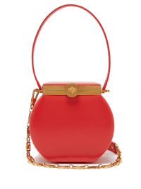 VERSACE Medusa-clasp leather shoulder bag in red ~ small vintage style handbag