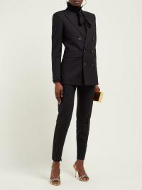 SAINT LAURENT Metallic-pinstriped double-breasted crepe blazer | Matches Fashion