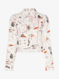 Miaou Lex Newsprint Denim Jacket in white