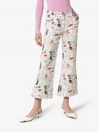 Miaou Soni Newsprint Flared Jeans / white printed denim