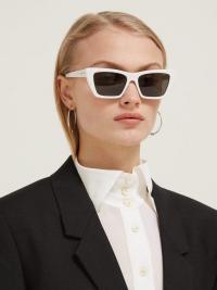 SAINT LAURENT Mica cat-eye acetate sunglasses in white | retro eyewear