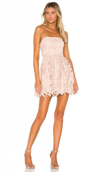 Michael Costello x REVOLVE Tate Dress in Blush | pale-pink lace party dresses | strapless skater