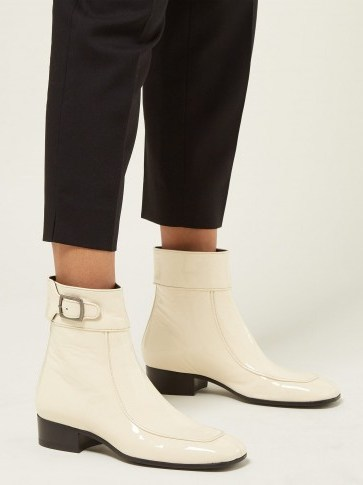 SAINT LAURENT Miles square-toe patent-leather ankle boots in cream - flipped