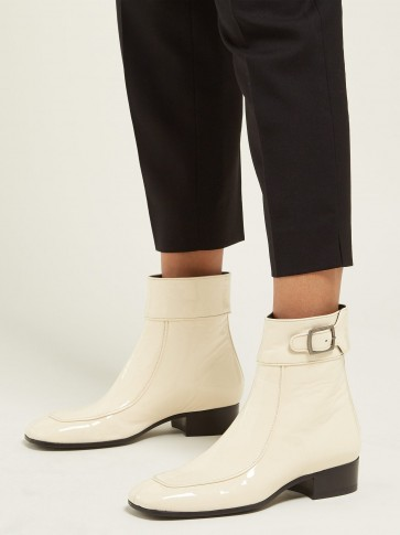 SAINT LAURENT Miles square-toe patent-leather ankle boots in cream