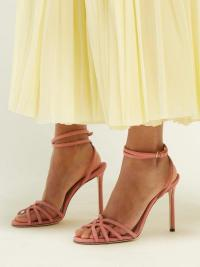 JIMMY CHOO Mimi 100 wrap-around pink suede sandals