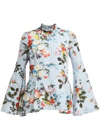 ERDEM Miriam Isabelle-print cotton-poplin top ~ blue flared sleeve high neck blouse ~ romantic style