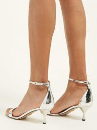 PRADA Mirrored-leather kitten-heel sandals | Matches Fashion