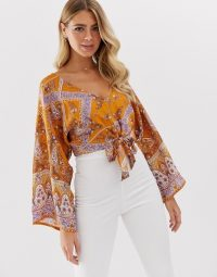 Miss Selfridge kimono top with tie front in paisley print in orange | oriental inspired sleeves