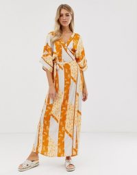 Miss Selfridge wrap kimono maxi dress in mixed print | oriental inspired fashion
