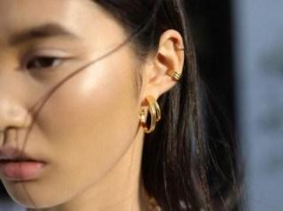 MISSOMA ROSETTE HOOPS 18ct Gold Plated / double hoop earrings - flipped