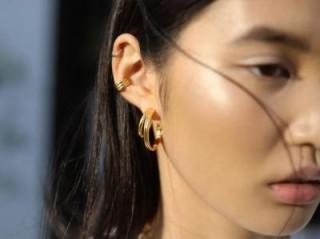 MISSOMA ROSETTE HOOPS 18ct Gold Plated / double hoop earrings