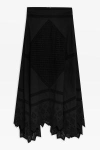 Topshop Mixed Broderie Midi Skirt in Black | summer peasant skirts