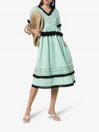 Molly Goddard Frank Ruffled Midi-Dress Green / gingham summer dresses