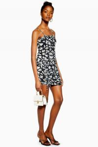 TOPSHOP Monochrome Animal Ruched Mini Dress / skinny strap side gathered dresses