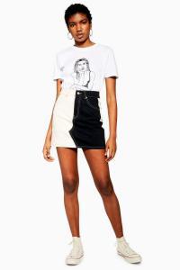 Topshop Monochrome Colour Block Denim Mini Skirt | black and white colourblock skirts