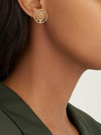 BURBERRY Monogram gold-plated clip earrings / chic designer fashion jewellery