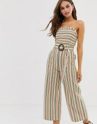 Moon River bandeau jumpsuit with waist belt in multi stripe | retro summer fashion | 70s style strapless jumpsuits