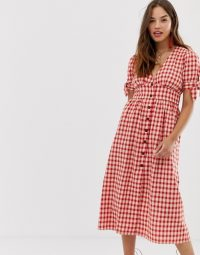 Moon River gingham midi dress in red | plunge front day dresses