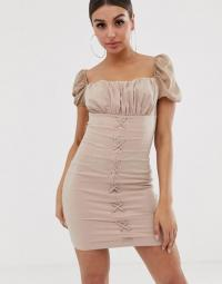 NaaNaa ruched mini dress with lace up front in light-camel | gathered square neck bodycon frock